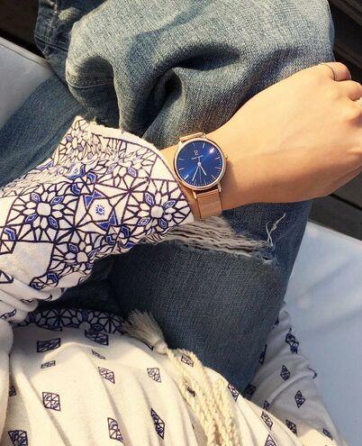 Quartz Ladies Watch SYMPHONY Blue Dial Rose Gold colour Mesh steel Strap