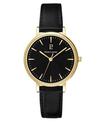 Quartz Ladies Watch SYMPHONY Black Dial Black Leather Strap