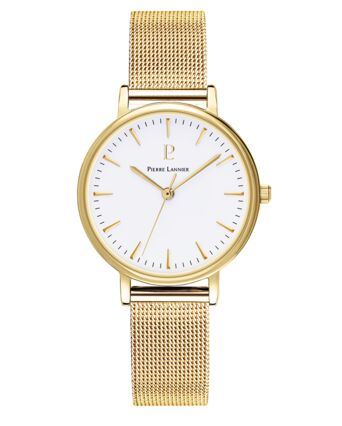 Quartz Ladies Watch SYMPHONY White Dial Gold Steel Strap