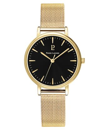 Quartz Ladies Watch SYMPHONY Black Dial Gold Steel Strap