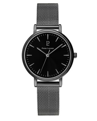 Quartz Ladies Watch SYMPHONY Black Dial Black Steel Strap