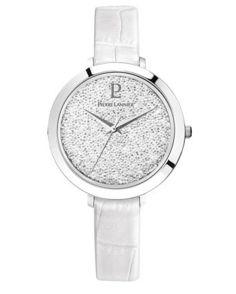 Quartz Ladies Watch CRISTAL White Dial White Leather Strap