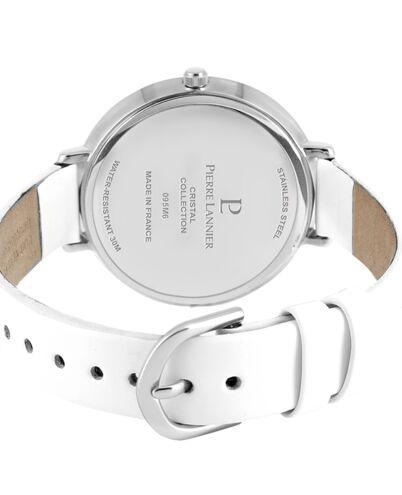 Quartz Ladies Watch CRISTAL White Dial White Leather Strap