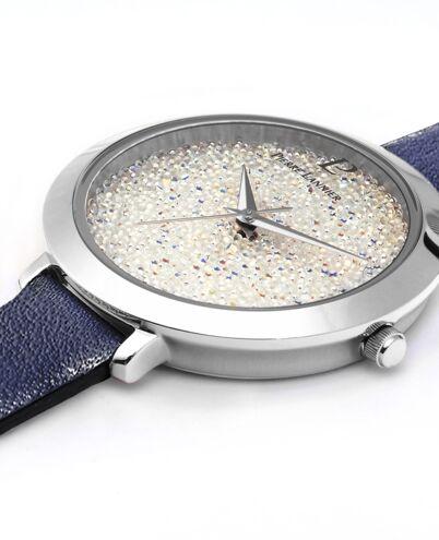 Montre Femme CRISTAL Cadran Blanc Bracelet Cuir Bleu