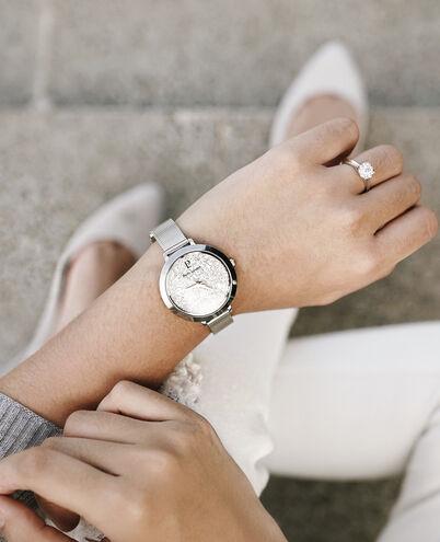 Montre Femme CRISTAL Cadran Blanc Bracelet Acier milanais Argenté