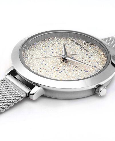 Quartz Ladies Watch CRISTAL White Dial Silver Mesh steel Strap