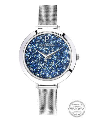 Quartz Ladies Watch CRISTAL Blue Dial Silver Mesh steel Strap