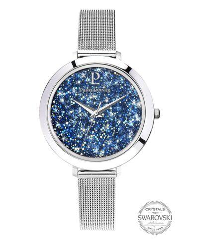 Montre Femme CRISTAL Cadran Bleu Bracelet Acier milanais Argenté