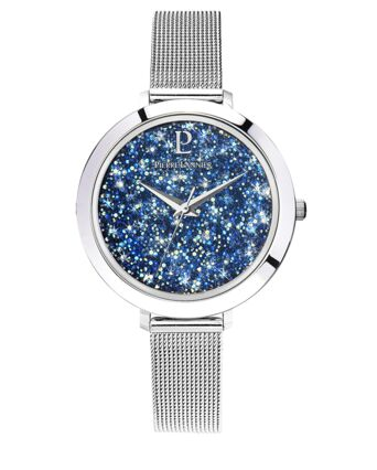 Quartz Ladies Watch CRISTAL Blue Dial Silver Mesh steel Strap