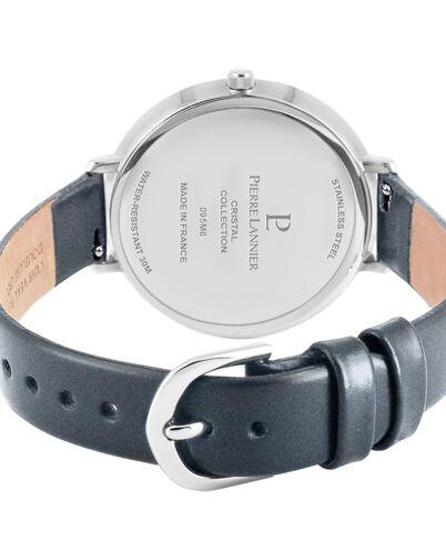 Quartz Ladies Watch CRISTAL Grey Dial Grey Leather Strap