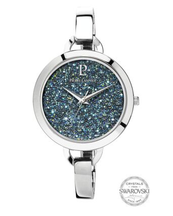 Quartz Ladies Watch CRISTAL Grey Dial Silver Steel Strap