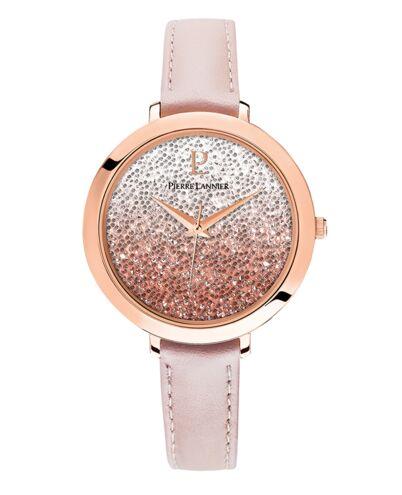 Quartz Ladies Watch CRISTAL White Dial Rose Gold colour Leather Strap