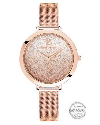 Quartz Ladies Watch CRISTAL White Dial Rose Gold colour Mesh steel Strap