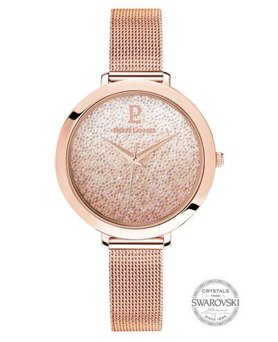 Montre Femme CRISTAL Cadran Blanc Bracelet Acier milanais Doré rose