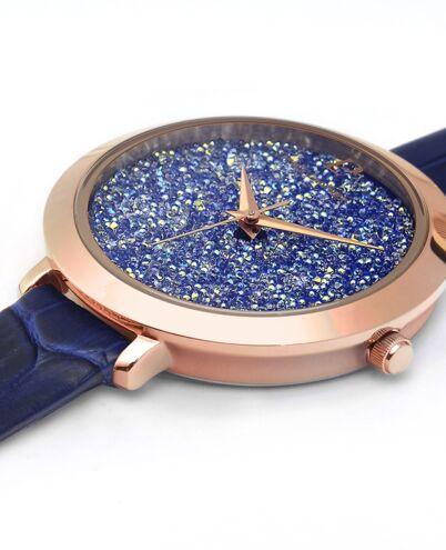 Montre Femme CRISTAL Cadran Bleu Bracelet Cuir Bleu
