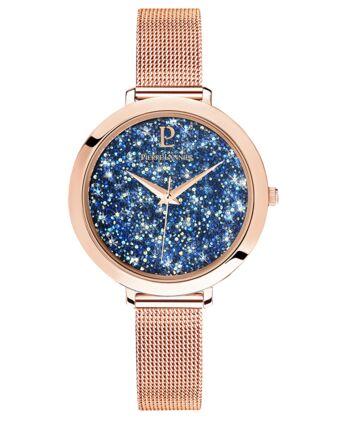 Montre Femme CRISTAL Cadran Bleu Bracelet Acier milanais Doré rose