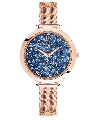 Quartz Ladies Watch CRISTAL Blue Dial Rose Gold colour Mesh steel Strap