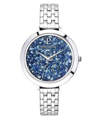 Montre Femme CRISTAL Cadran Bleu Bracelet Acier Argenté