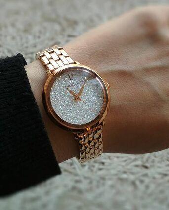 Quartz Ladies Watch CRISTAL White Dial Rose Gold colour Steel Strap