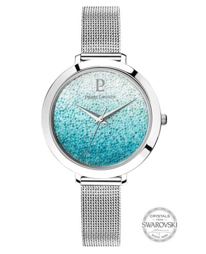 Quartz Ladies Watch CRISTAL White Dial Silver Mesh steel Strap