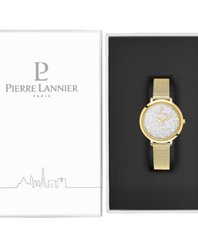 Montre Femme PETITE CRISTAL Cadran Blanc Bracelet Acier Milanais Doré