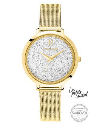 Quartz Ladies Watch PETITE CRISTAL White Dial Gold Steel Strap