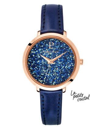 Montre Femme PETITE CRISTAL Cadran Bleu Bracelet Cuir Bleu