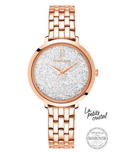 Montre Femme PETITE CRISTAL Cadran Blanc Bracelet Acier Doré rose