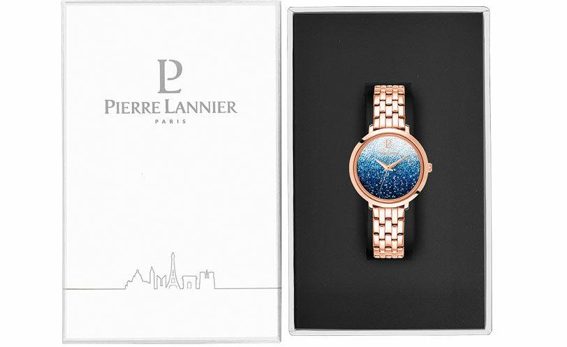 Montre Femme PETITE CRISTAL Cadran Bleu dégradé Bracelet Acier Doré rose