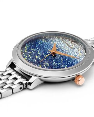Montre Femme Petite Cristal Cadran Bleu Bracelet Acier