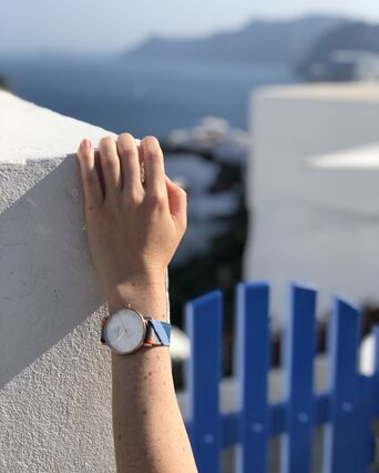 Montre Femme CATALANE Cadran Blanc Bracelet Tissu Bleu