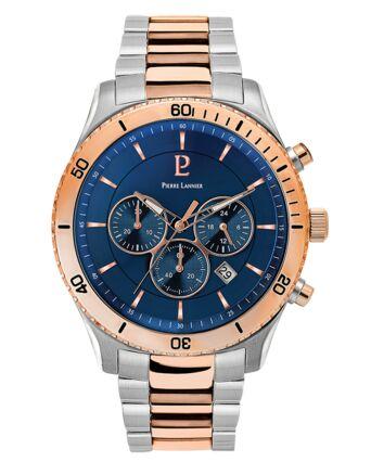 Quartz Men's Watch CHRONO Blue Dial Steel Strap