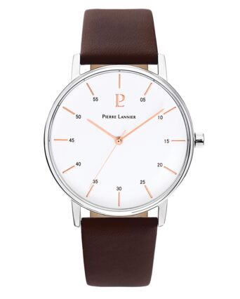 Quartz Men's Watch CITYLINE White Dial Brown Leather Strap