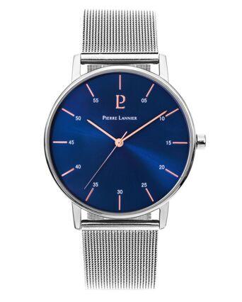 Quartz Men's Watch CITYLINE Blue Dial Silver Mesh steel Strap
