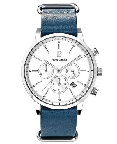 Quartz Men's Watch SPIRIT White Dial Blue Leather Strap