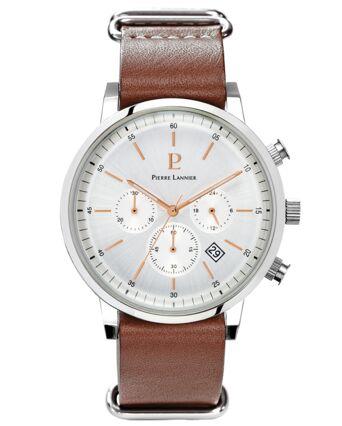 Quartz Men's Watch SPIRIT Silver Dial Brown Leather Strap