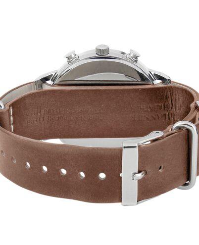 Montre Homme SPIRIT Cadran Argenté Bracelet Cuir Brun