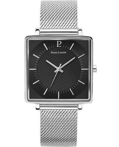 Quartz Men's Watch LECARÉ Black Dial Silver Mesh steel Strap