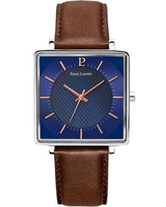 Quartz Men's Watch LECARÉ Blue Dial Brown Leather Strap