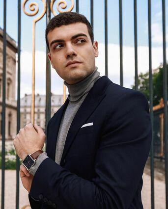 Montre Homme LECARÉ Cadran Bleu Bracelet Cuir Brun