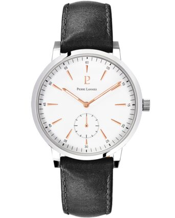 Quartz Men's Watch SPIRIT White Dial Black Leather Strap