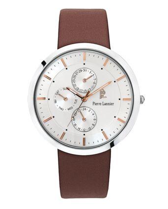 Quartz Men's Watch EXTRA PLAT Silver Dial Brown Leather Strap