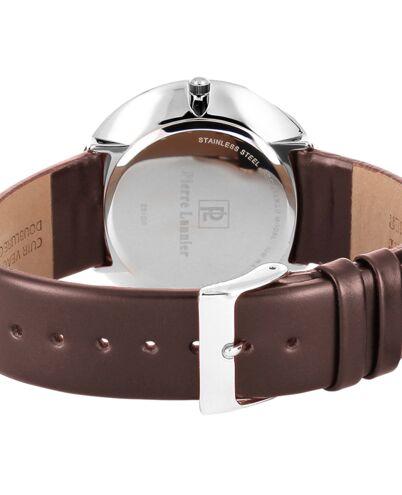 Montre Homme EXTRA PLAT Cadran Argenté Bracelet Cuir Brun