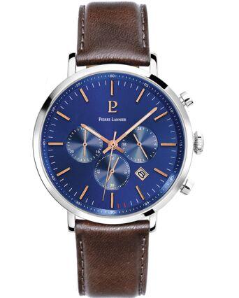 Montre Homme BARON Cadran Bleu Bracelet Cuir Brun