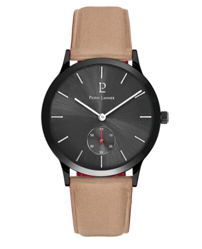 Quartz Men's Watch STYLE Grey Dial Sand Leather Strap