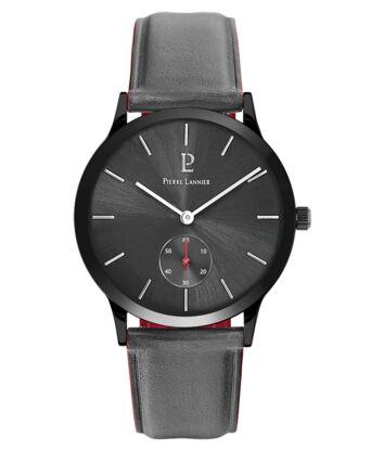 Quartz Men's Watch STYLE Grey Dial Grey Leather Strap