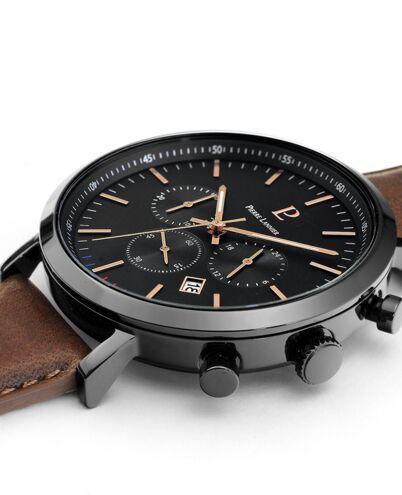 Quartz MEN Watch BARON Black Dial Brown Leather Strap
