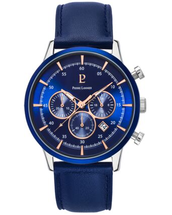 Quartz Men's Watch CAPITAL Blue Dial Blue Leather Strap