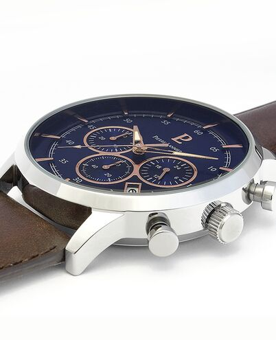 Quartz Men's Watch CAPITAL Blue Dial Brown Leather Strap