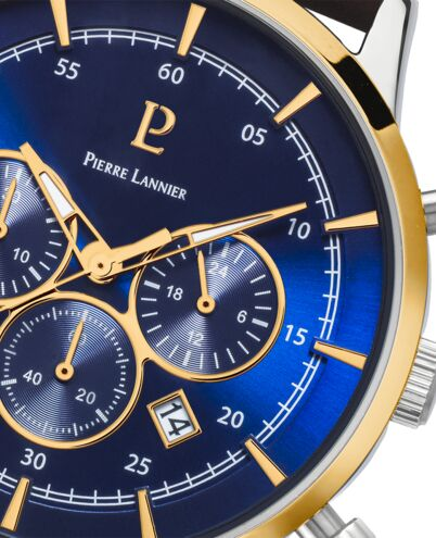 Quartz Men's Watch CAPITAL Blue Dial Brown Leather Strap